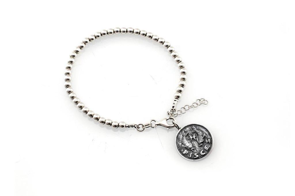 Pisces medallion with a Bead Bracelet -Zodiac jewelry -One of kind jewelry