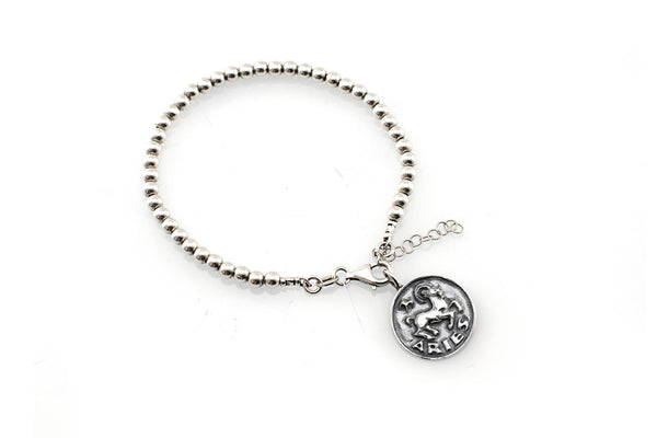 Aries medallion with a Bead Bracelet -Zodiac jewelry -One of kind jewelry