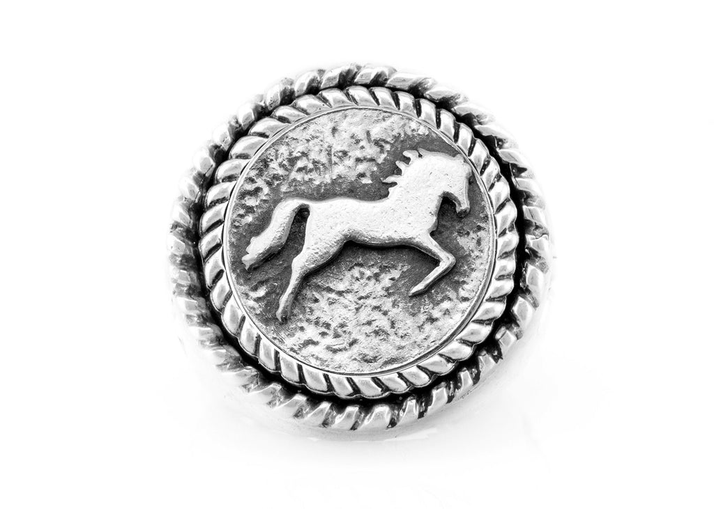 coin ring with the Galloping Horse medallion on fleur de lis ring