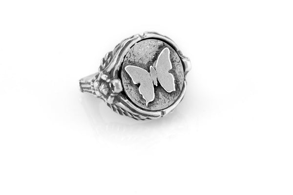 coin ring with the Butterfly medallion on