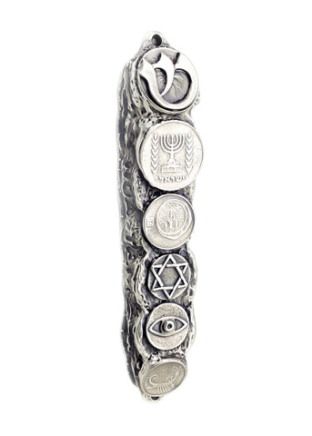 Silver Mezuzah with Israeli Collector's Coins & Blessings - Small (13cm)