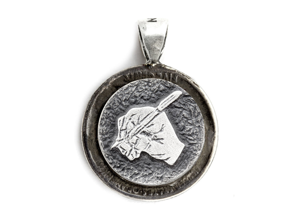 coin Pendant with the  The writing hand coin medallion and the Buffalo Nickel coin of USA