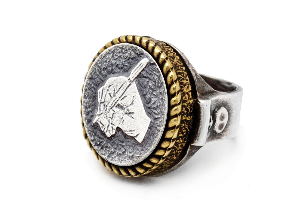coin ring with the Writer's Hand coin medallion