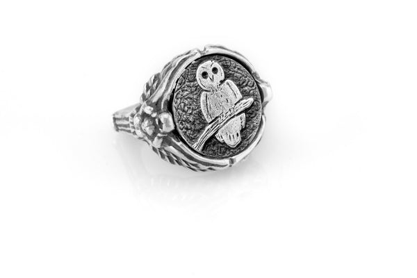 "coin ring with the Owl medallion on Nike ring  Owl ""Nike"" Ring"