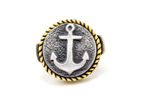 Coin ring with the Anchor  coin medallion