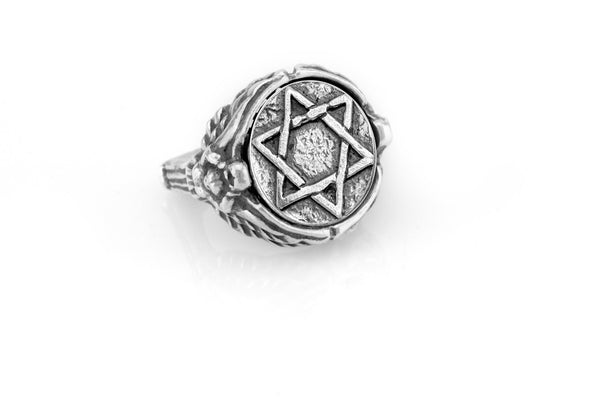 coin ring with the Star of David medallion on Nike ring