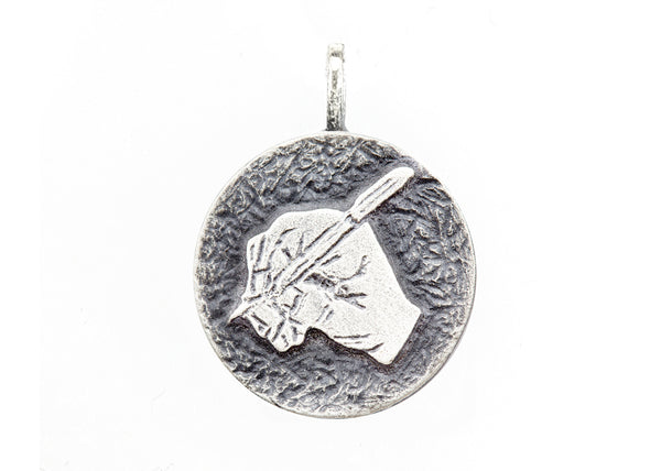 An amazing medallion necklace with the  The writing hand coin medallion