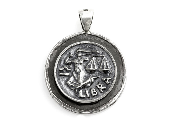 Libra Sign Astrology Zodiac Medallion on Old 10 Sheqel Coin of Israel
