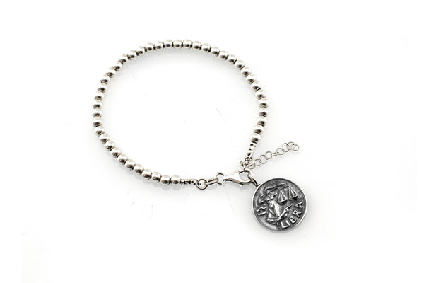 Libra medallion with a Bead Bracelet -Zodiac jewelry -One of kind jewelry