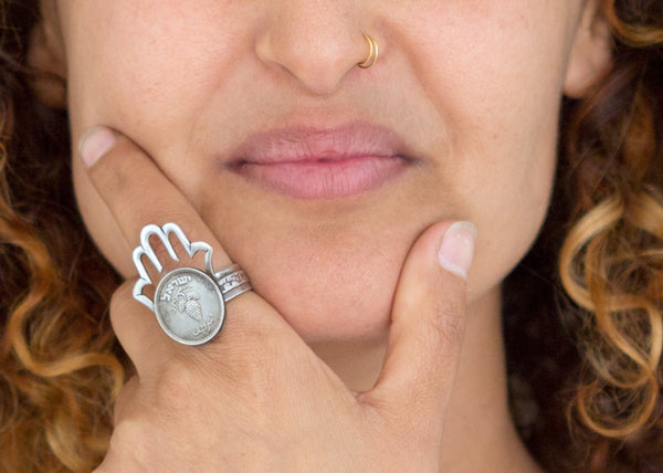 Hamsa Featuring Old, Collector's Israeli Coin - 25 Pruta coin Ring