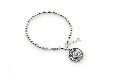 Capricorn medallion with a Bead Bracelet -Zodiac jewelry -One of kind jewelry