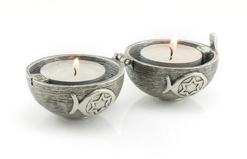 Candles holder with symbols silver color Shabat candles