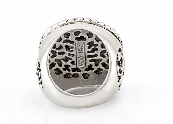 Star of David coin medallion on fleur de lis ring
