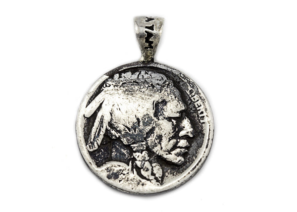 Amen coin medallion in English and the Buffalo Nickel coin of USA