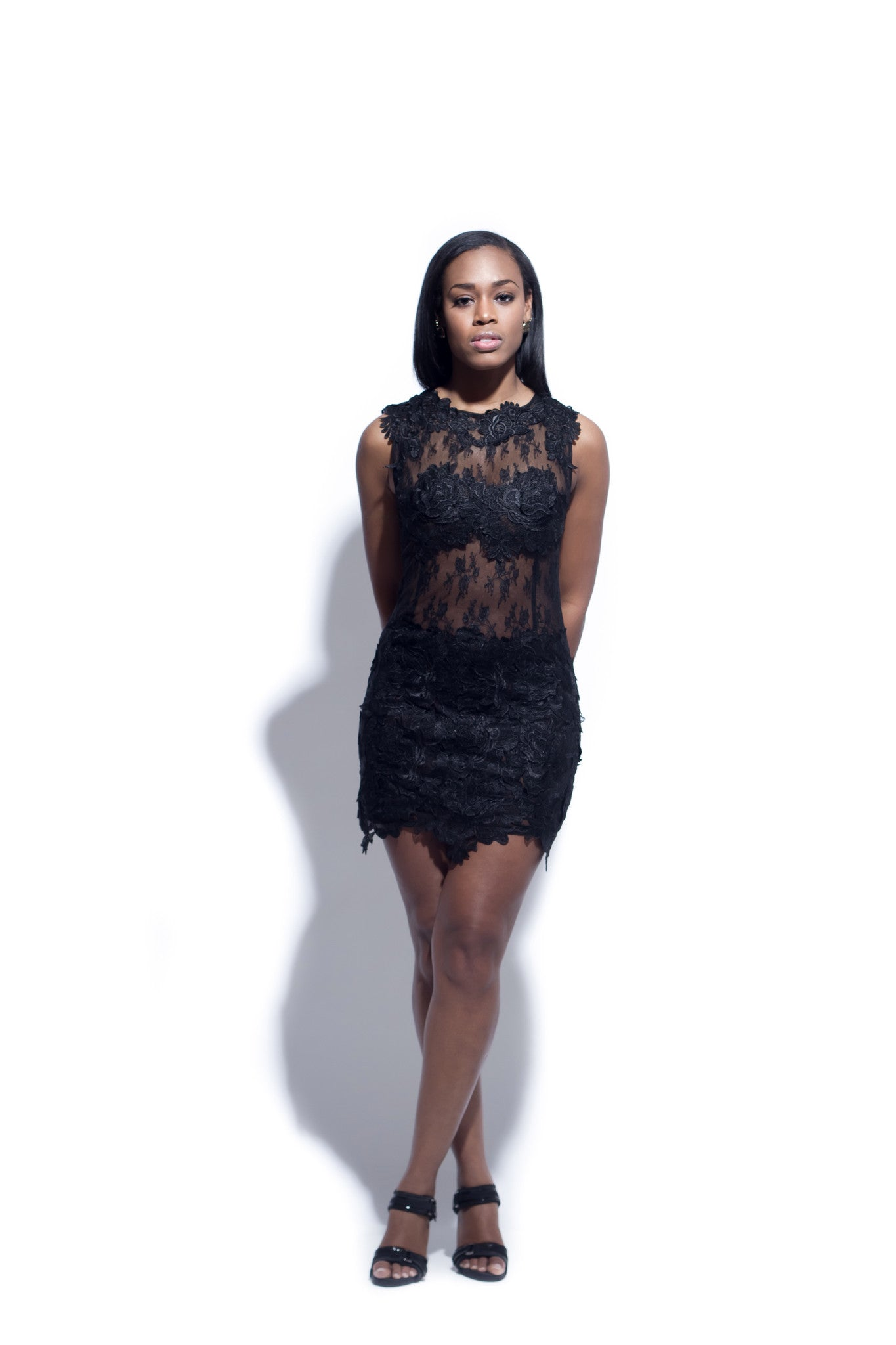 Lace Appliqué Mini Dress