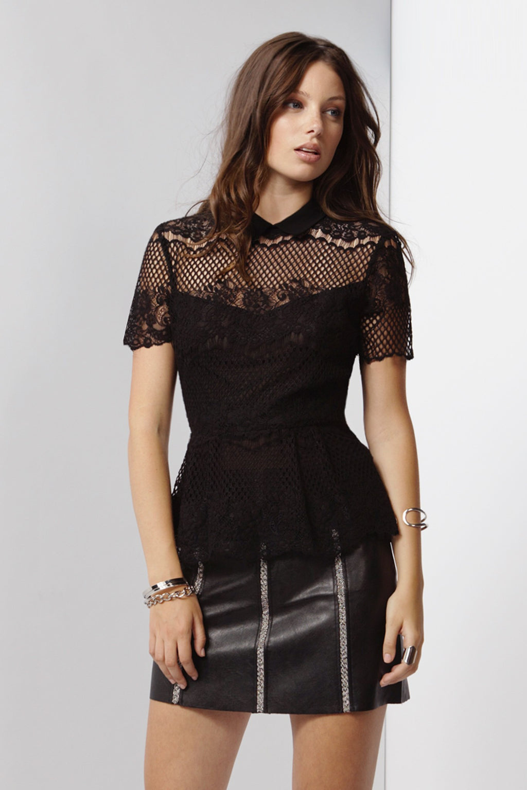 Black Lace Peplum Texted Top