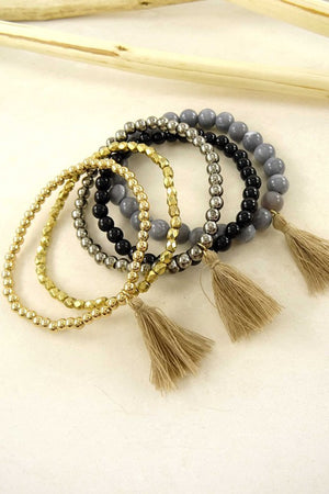 'Zara' Beads and Tassels Bracelet