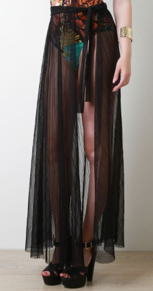Pleated Mesh Maxi Wrap Skirt
