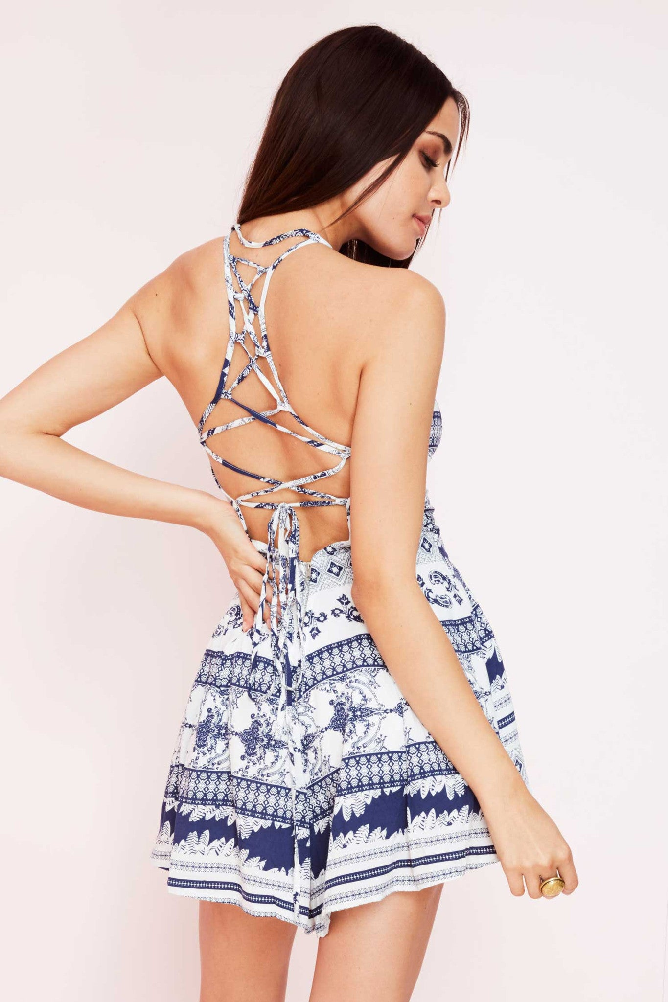 'Maltese'  Blue Cross Back Tie Romper