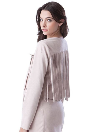 Back 'Navajo' Blush Fringe Jacket