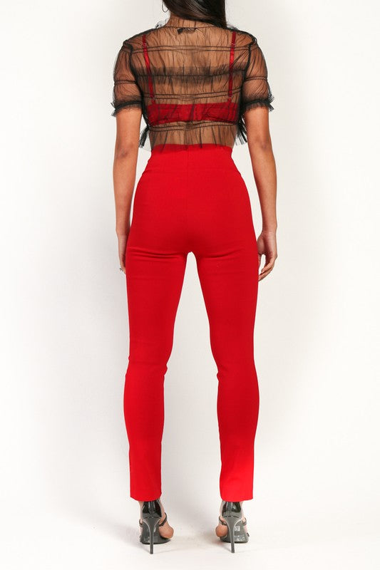 Jessi Red High Waist Stretchy Pants Featuring Ankle Slit Detail.