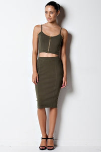 Olive Green Zipper Skirt Set