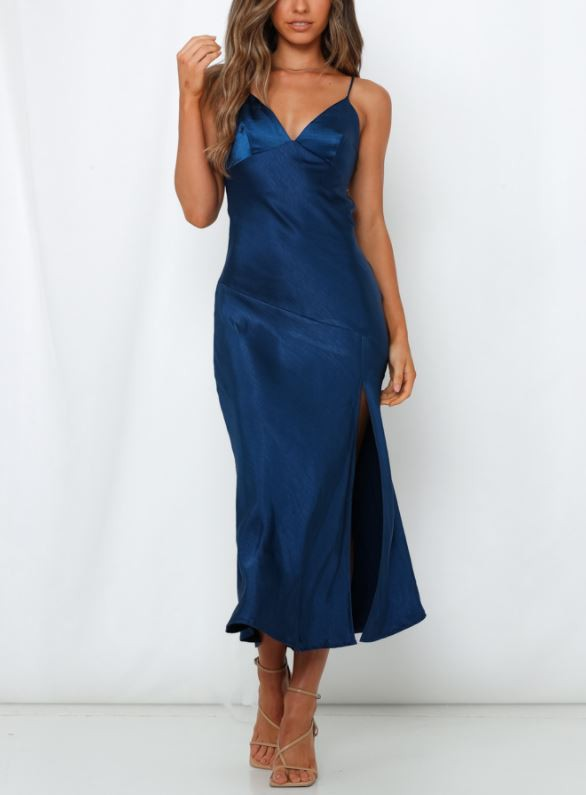Navy Midnight Slip Satin Dress