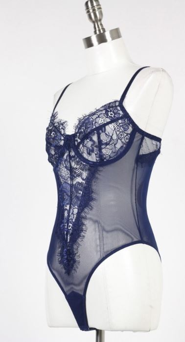 Iris Navy Blue Lace Bodysuit