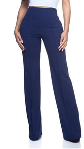 'Sariah' Navy Blue High Waist Wide Leg Pant