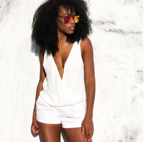 White Deep V  Plunge Tank Top