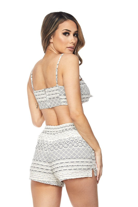 Woven Short Set Featuring Crop Bow Tie Top