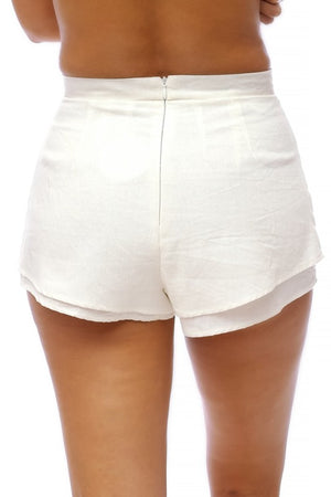 'Pixi'  White Cut Shorts