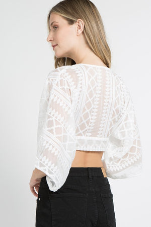 'Brook' White Embroidered Crop Top
