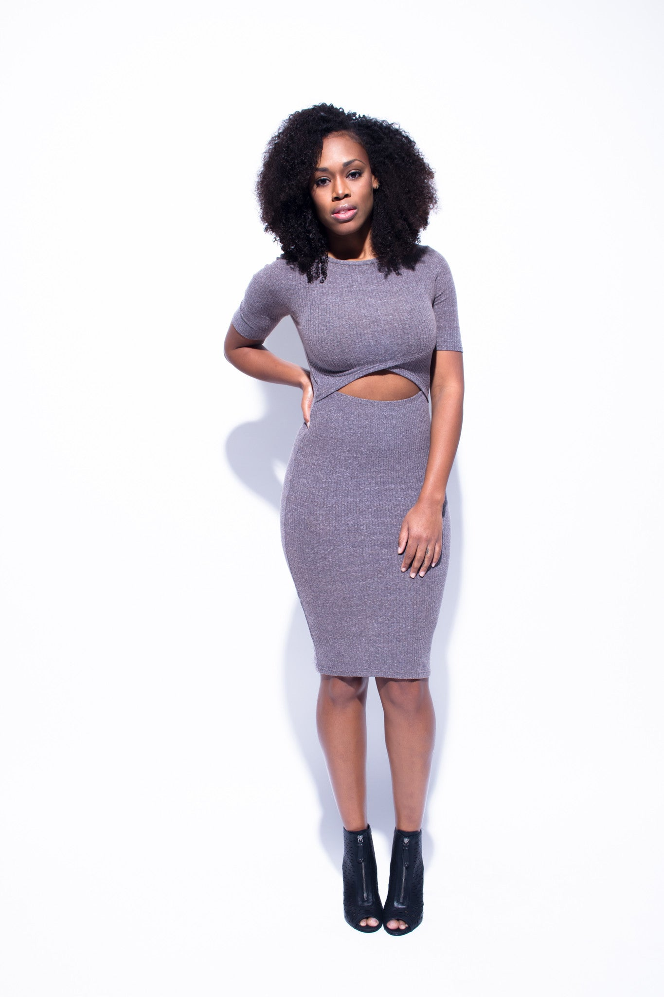 'Veronica' Grey Cut Out Dress