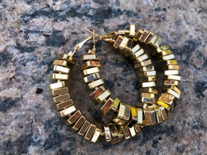Square Beaded Gold Hoop