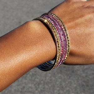 Glitter Pink and Yellow Rhinestone Bangles