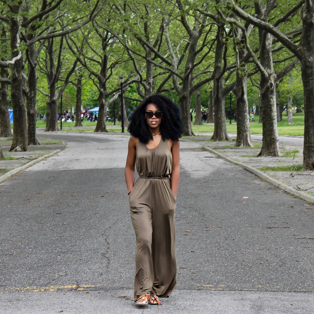 'Fren' Olive Green Sleeveless Jumpsuit With Keyhole