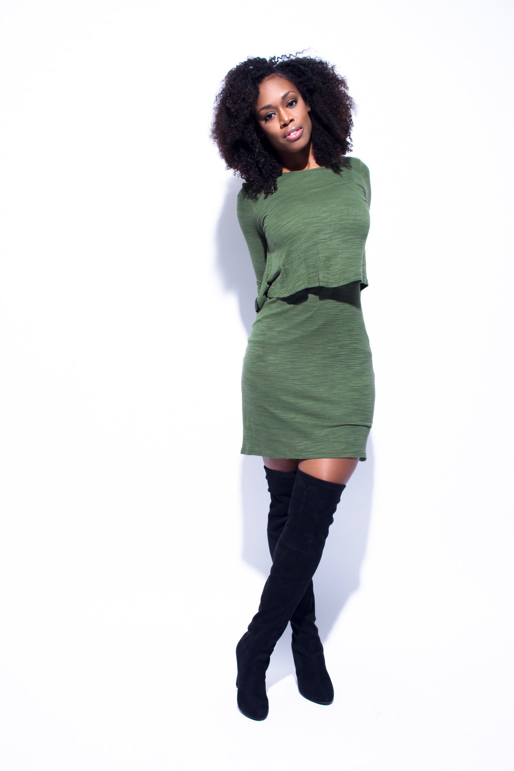 Olive Green Long Sleeve Layered Dress