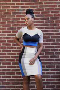 'Cassie' Color Block Skirt Set