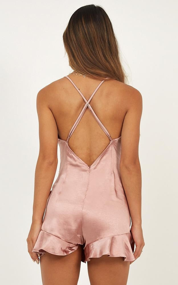 'Reagan'  Rose Gold Playsuit