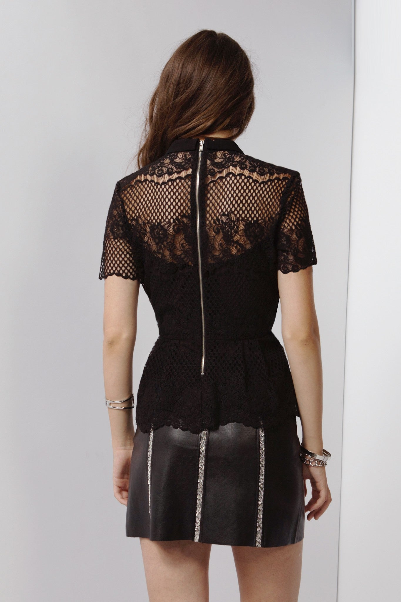 Back Black Lace Peplum Texted Top