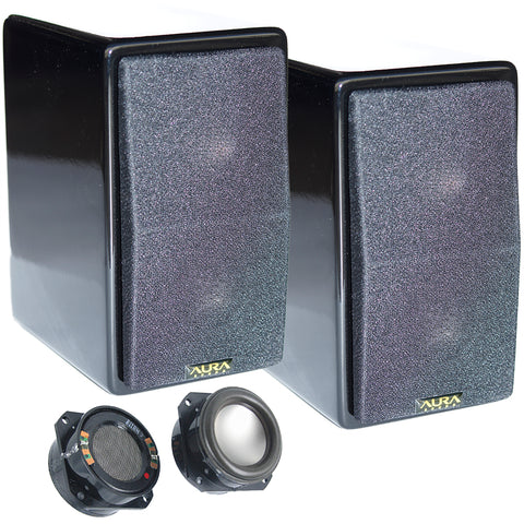 AuraSound Whisper Mini Audiophile Black Lacquer Satellite Speakers