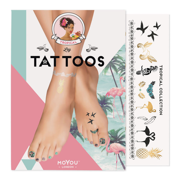Tropical 01 Feet Tattoo (Color)