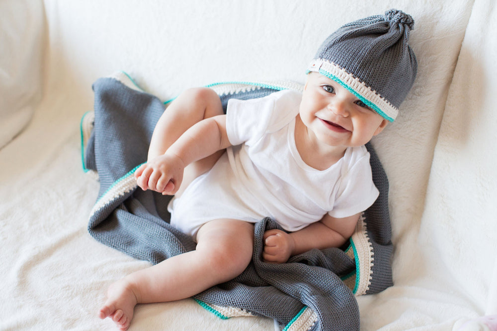 Signature Baby Hat: Stone Teal - Haiti Babi - Artisan Baby Products, Handmade By Moms In Haiti.