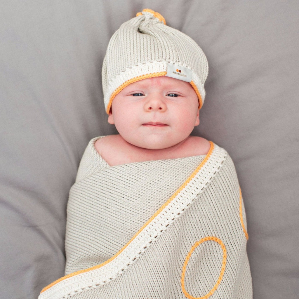 Signature Baby Blanket: Pebble - Papaya - Haiti Babi - Artisan Baby Products, Handmade By Moms In Haiti.