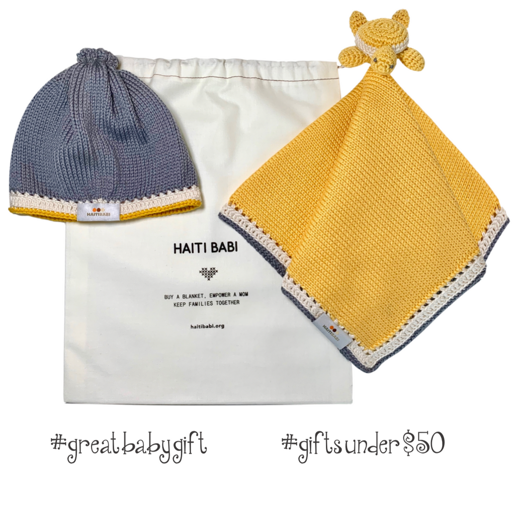 Caribbean Lovie Hat Set: Pineapple & Stone - Haiti Babi - Artisan Baby Products, Handmade By Moms In Haiti.