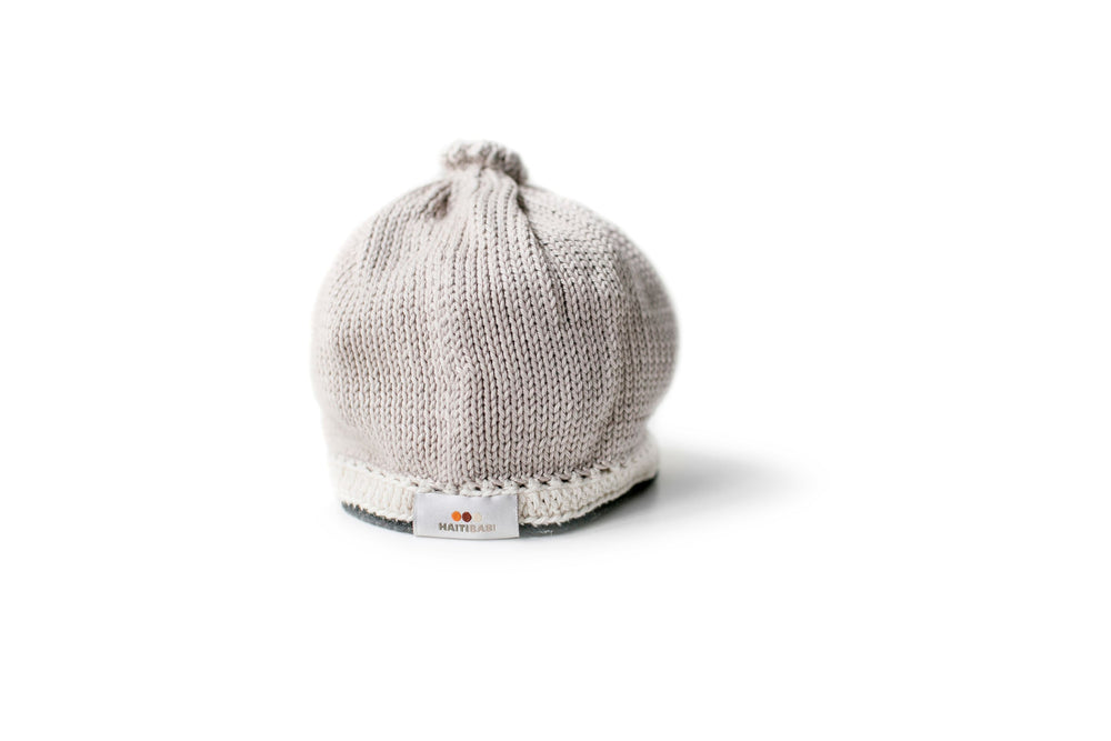 Signature Baby Hat: Taupe Black - Haiti Babi - Artisan Baby Products, Handmade By Moms In Haiti.