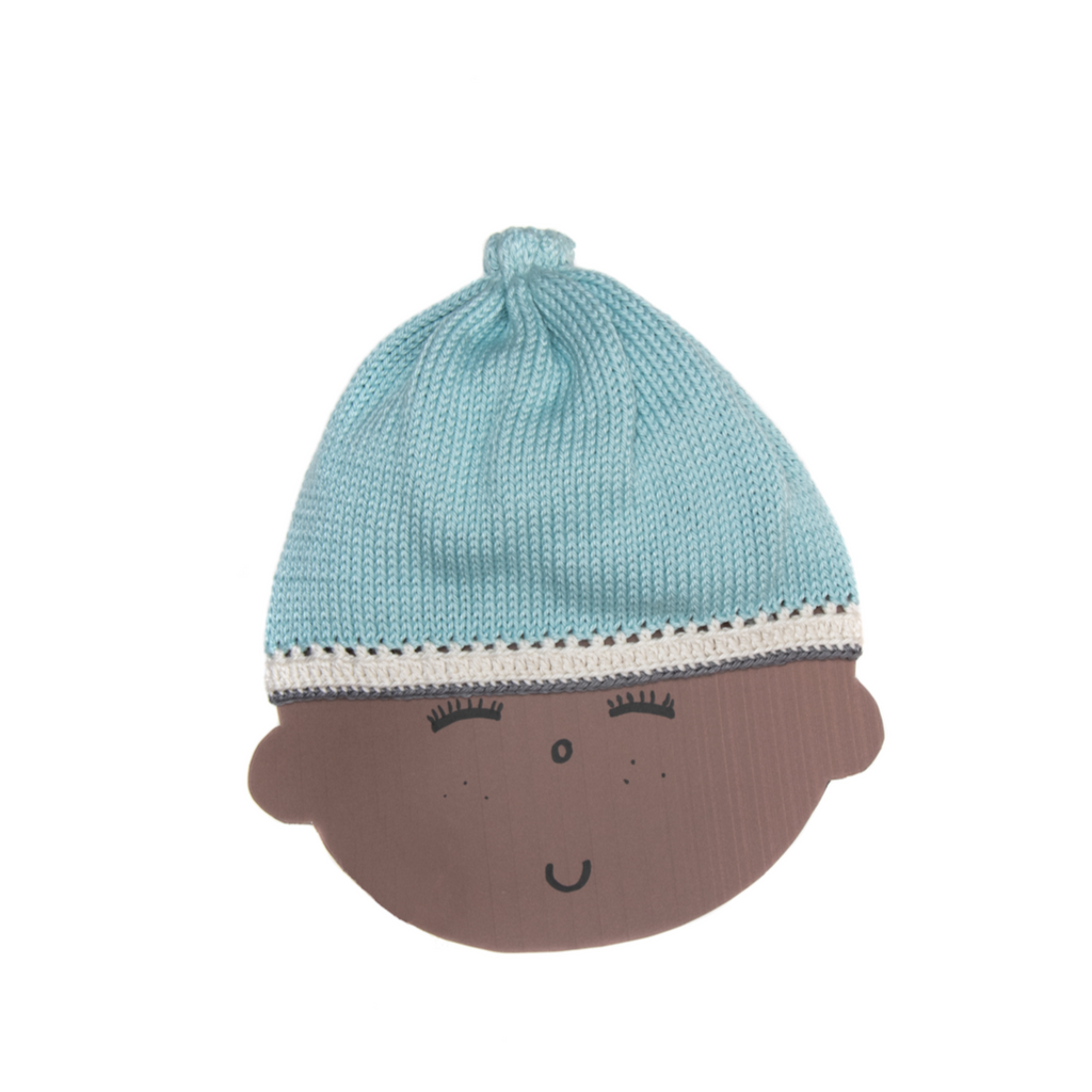 Caribbean Knit Hat: Ice Blue - Haiti Babi - Artisan Baby Products, Handmade By Moms In Haiti.