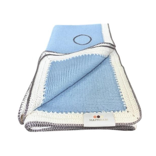Tranquility Blanket: Light Blue Stone - Haiti Babi - Artisan Baby Products, Handmade By Moms In Haiti.