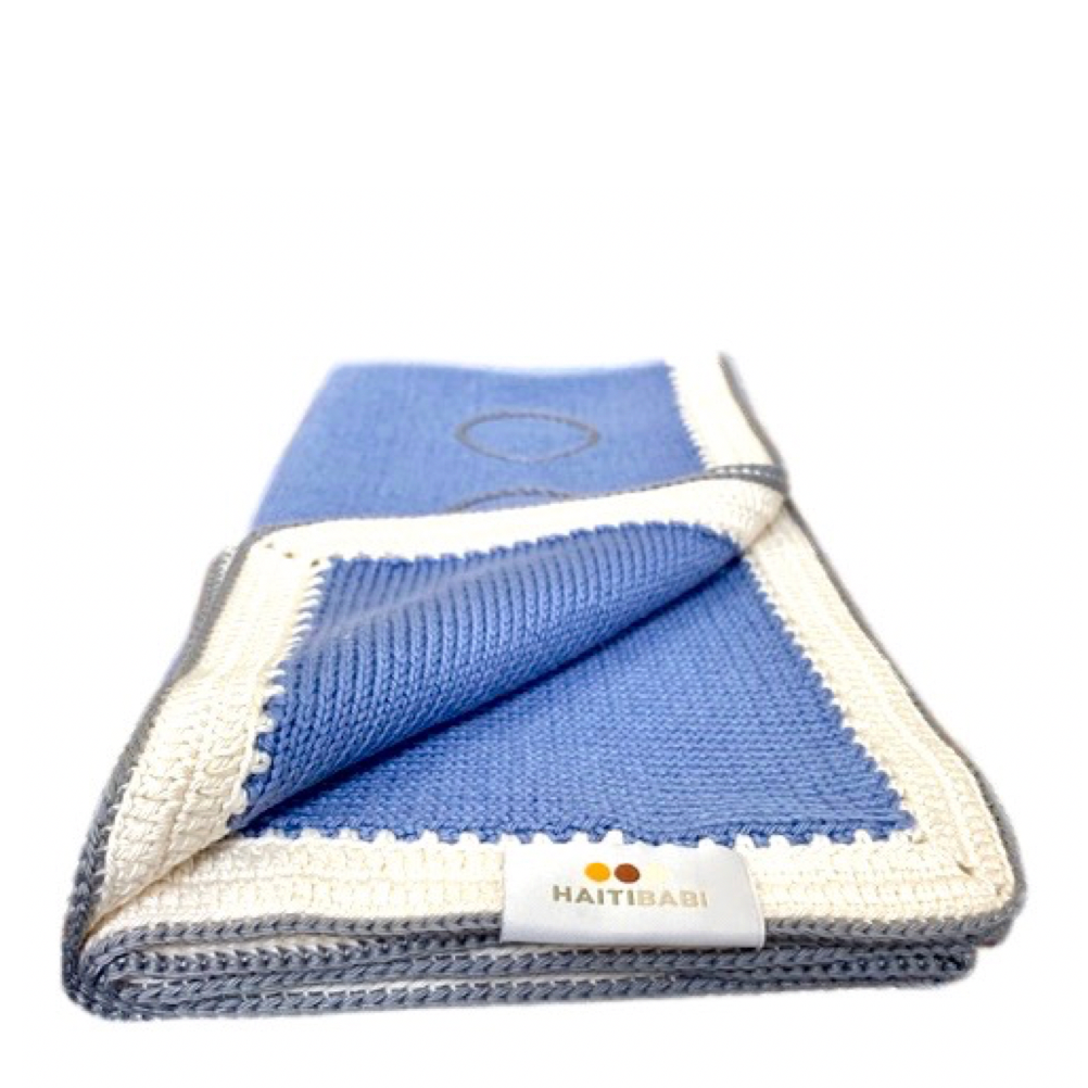 Spring Baby Blanket : Hyacinth Blue Stone - Haiti Babi - Artisan Baby Products, Handmade By Moms In Haiti.